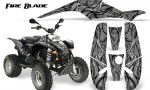 POLARIS Scrambler 500 Trailblazer 350 500 CreatorX Graphics Kit Fire Blade Black Silver 150x90 - Polaris Scrambler Trailblazer 1985-2009 Graphics