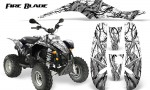 POLARIS Scrambler 500 Trailblazer 350 500 CreatorX Graphics Kit Fire Blade Black White 150x90 - Polaris Scrambler Trailblazer 1985-2009 Graphics