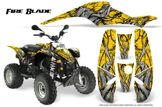 POLARIS Scrambler 500 Trailblazer 350 500 CreatorX Graphics Kit Fire Blade Black Yellow 570x376 - Polaris Scrambler Trailblazer 1985-2009 Graphics