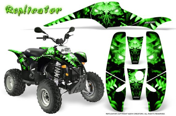POLARIS Scrambler 500 Trailblazer 350 500 CreatorX Graphics Kit Replicator Green 570x376 - Polaris Scrambler Trailblazer 1985-2009 Graphics