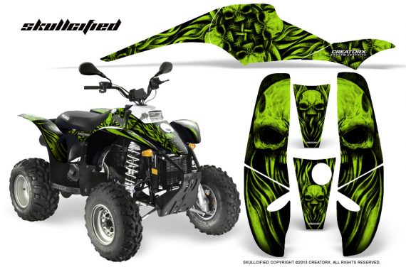 POLARIS Scrambler 500 Trailblazer 350 CreatorX Graphics Kit Skullcified Green Black 570x376 - Polaris Scrambler Trailblazer 1985-2009 Graphics
