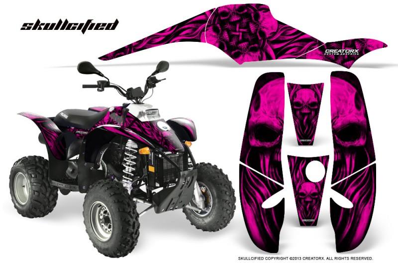 POLARIS-Scrambler-500-Trailblazer-350-CreatorX-Graphics-Kit-Skullcified-Pink-Black