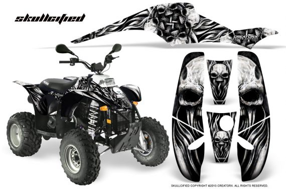 POLARIS Scrambler 500 Trailblazer 350 CreatorX Graphics Kit Skullcified Silver Black 570x376 - Polaris Scrambler Trailblazer 1985-2009 Graphics