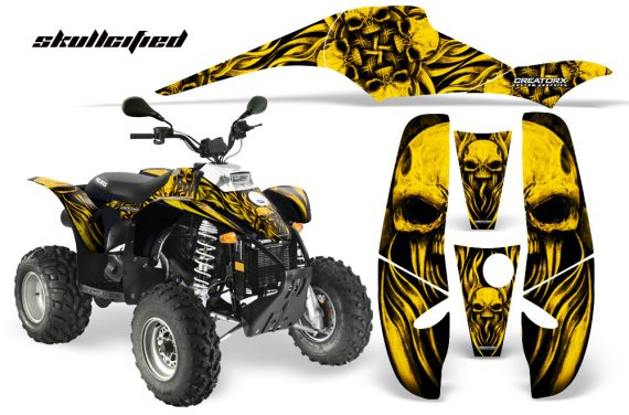 POLARIS Scrambler 500 Trailblazer 350 CreatorX Graphics Kit Skullcified Yellow Black 570x376 - Polaris Scrambler Trailblazer 1985-2009 Graphics