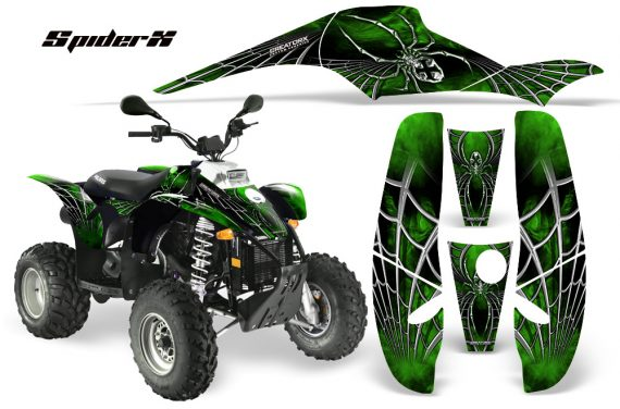 POLARIS Scrambler 500 Trailblazer 350 CreatorX Graphics Kit SpiderX Green Black 570x376 - Polaris Scrambler Trailblazer 1985-2009 Graphics
