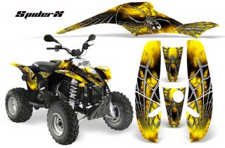 POLARIS Scrambler 500 Trlblazer 350 CreatorX Graphics Kit SpiderX Yellow 320x211 - Can-Am Maverick X3 TribalX Custom Version Graphics
