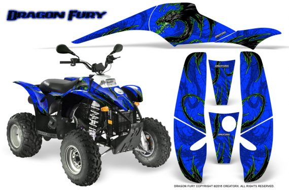 POLARIS Scrambler 500 Trailblazer 350 Graphics Kit Dragon Fury Green Blue 570x376 - Polaris Scrambler Trailblazer 1985-2009 Graphics