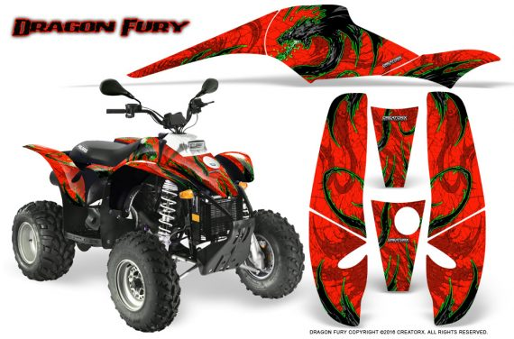 POLARIS Scrambler 500 Trailblazer 350 Graphics Kit Dragon Fury Green Red 570x376 - Polaris Scrambler Trailblazer 1985-2009 Graphics