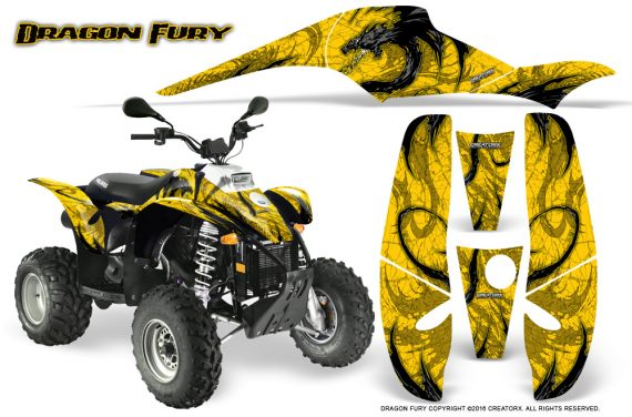 POLARIS Scrambler 500 Trailblazer 350 Graphics Kit Dragon Fury Yellow Yellow 570x376 - Polaris Scrambler Trailblazer 1985-2009 Graphics