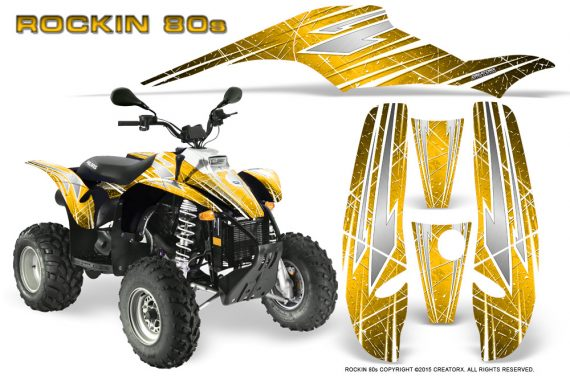 POLARIS Scrambler 500 Trailblazer 350 Graphics Kit Rockin80s Yellow 570x376 - Polaris Scrambler Trailblazer 1985-2009 Graphics