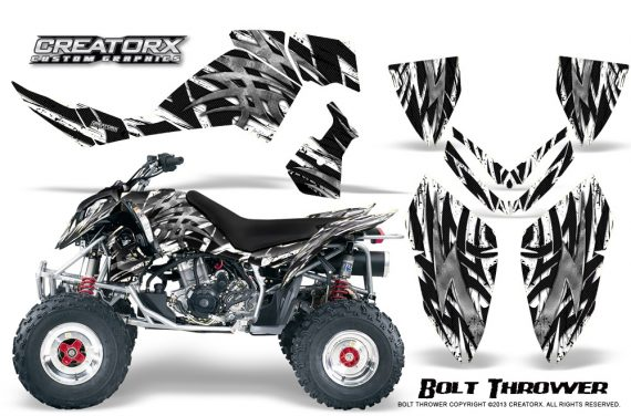 Polaris Outlaw 500 06 08 CreatorX Graphics Kit Bolt Thrower White 570x376 - Polaris Outlaw 450/500/525 2006-2008 Graphics