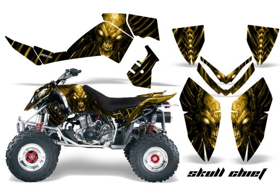 Polaris Outlaw 500 06 08 CreatorX Graphics Kit Skull Chief Yellow 570x376 - Polaris Outlaw 450/500/525 2006-2008 Graphics