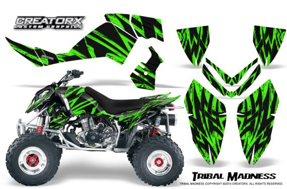Polaris Outlaw 500 06 08 CreatorX Graphics Kit Tribal Madness Green 570x376 - Polaris Outlaw 450/500/525 2006-2008 Graphics