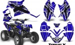 Polaris Outlaw 90 CreatorX Graphics Kit TribalX White Blue 150x90 - Polaris Outlaw 90/110 2002-2016 Graphics