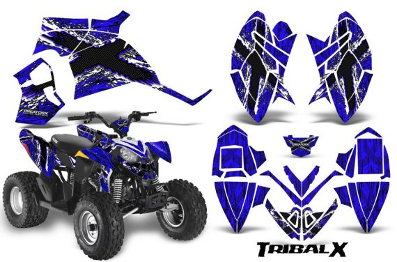 Polaris Outlaw 90 CreatorX Graphics Kit TribalX White Blue 570x376 - Polaris Outlaw 90/110 2002-2016 Graphics