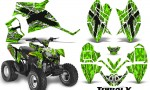 Polaris Outlaw 90 CreatorX Graphics Kit TribalX White Green 150x90 - Polaris Outlaw 90/110 2002-2016 Graphics