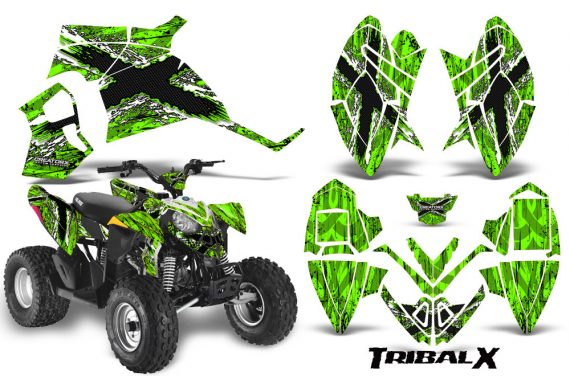 Polaris Outlaw 90 CreatorX Graphics Kit TribalX White Green 570x376 - Polaris Outlaw 90/110 2002-2016 Graphics