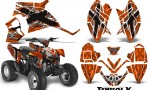 Polaris Outlaw 90 CreatorX Graphics Kit TribalX White Orange 150x90 - Polaris Outlaw 90/110 2002-2016 Graphics