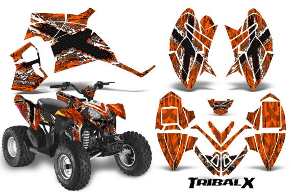 Polaris Outlaw 90 CreatorX Graphics Kit TribalX White Orange 570x376 - Polaris Outlaw 90/110 2002-2016 Graphics