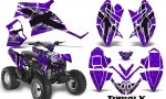 Polaris Outlaw 90 CreatorX Graphics Kit TribalX White Purple 150x90 - Polaris Outlaw 90/110 2002-2016 Graphics