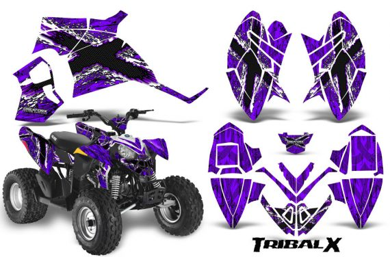 Polaris Outlaw 90 CreatorX Graphics Kit TribalX White Purple 570x376 - Polaris Outlaw 90/110 2002-2016 Graphics