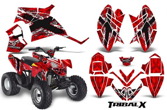 Polaris Outlaw 90 CreatorX Graphics Kit TribalX White Red 570x376 - Polaris Outlaw 90/110 2002-2016 Graphics
