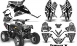 Polaris Outlaw 90 CreatorX Graphics Kit TribalX White Silver 150x90 - Polaris Outlaw 90/110 2002-2016 Graphics