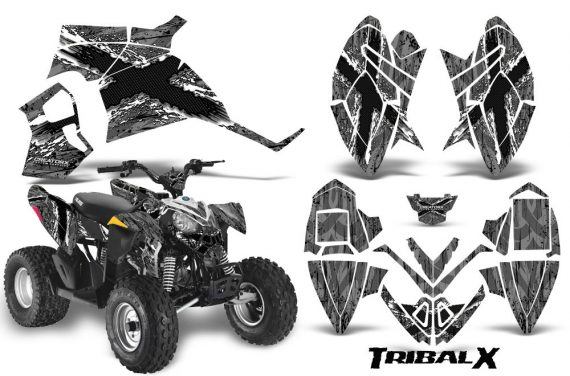 Polaris Outlaw 90 CreatorX Graphics Kit TribalX White Silver 570x376 - Polaris Outlaw 90/110 2002-2016 Graphics