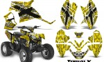 Polaris Outlaw 90 CreatorX Graphics Kit TribalX White Yellow BB 150x90 - Polaris Outlaw 90/110 2002-2016 Graphics