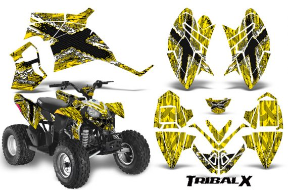 Polaris Outlaw 90 CreatorX Graphics Kit TribalX White Yellow BB 570x376 - Polaris Outlaw 90/110 2002-2016 Graphics