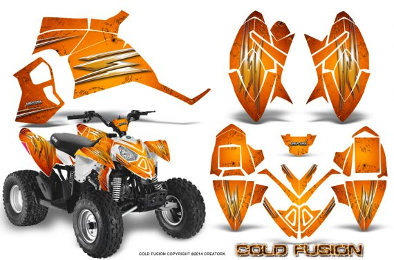 Polaris Outlaw 90 Graphics Kit Cold Fusion Orange 570x376 - Polaris Outlaw 90/110 2002-2016 Graphics