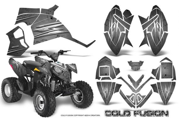 Polaris Outlaw 90 Graphics Kit Cold Fusion Silver 570x376 - Polaris Outlaw 90/110 2002-2016 Graphics