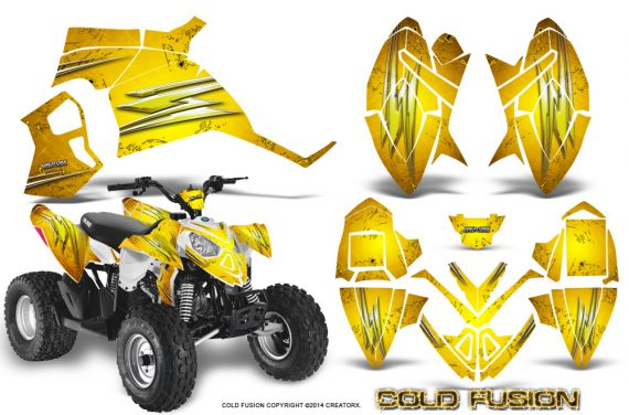 Polaris Outlaw 90 Graphics Kit Cold Fusion Yellow 570x376 - Polaris Outlaw 90/110 2002-2016 Graphics