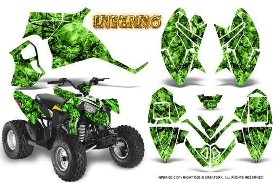 Polaris Outlaw 90 Graphics Kit Inferno Green 570x376 - Polaris Outlaw 90/110 2002-2016 Graphics