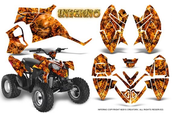 Polaris Outlaw 90 Graphics Kit Inferno Orange 570x376 - Polaris Outlaw 90/110 2002-2016 Graphics