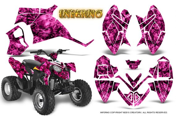 Polaris Outlaw 90 Graphics Kit Inferno Pink 570x376 - Polaris Outlaw 90/110 2002-2016 Graphics
