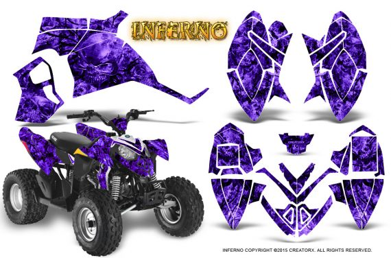 Polaris Outlaw 90 Graphics Kit Inferno Purple 570x376 - Polaris Outlaw 90/110 2002-2016 Graphics
