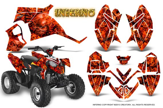 Polaris Outlaw 90 Graphics Kit Inferno Red 570x376 - Polaris Outlaw 90/110 2002-2016 Graphics