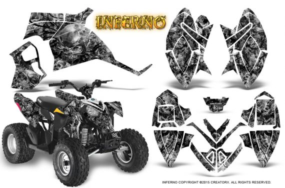 Polaris Outlaw 90 Graphics Kit Inferno Silver 570x376 - Polaris Outlaw 90/110 2002-2016 Graphics