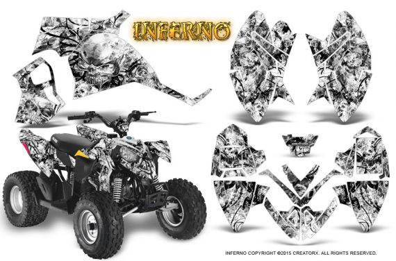 Polaris Outlaw 90 Graphics Kit Inferno White 570x376 - Polaris Outlaw 90/110 2002-2016 Graphics