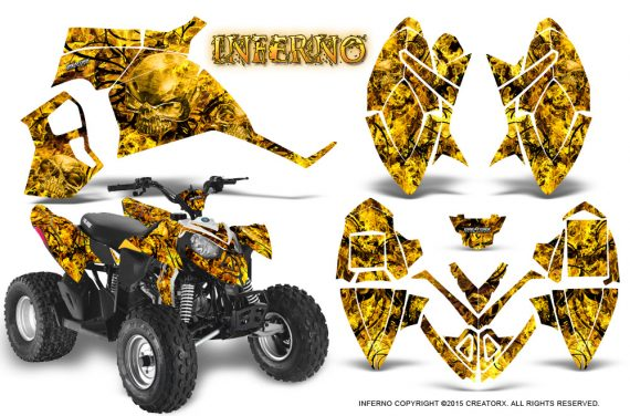 Polaris Outlaw 90 Graphics Kit Inferno Yellow 570x376 - Polaris Outlaw 90/110 2002-2016 Graphics