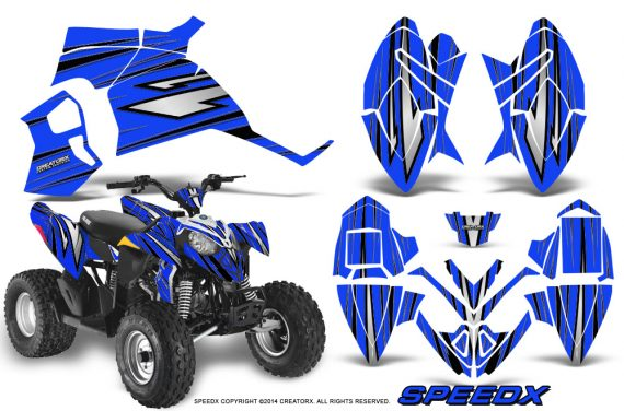 Polaris Outlaw 90 Graphics Kit SpeedX Black Blue 570x376 - Polaris Outlaw 90/110 2002-2016 Graphics