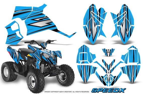 Polaris Outlaw 90 Graphics Kit SpeedX Black BlueIce 570x376 - Polaris Outlaw 90/110 2002-2016 Graphics
