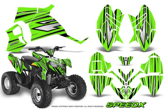 Polaris Outlaw 90 Graphics Kit SpeedX Black Green 570x376 - Polaris Outlaw 90/110 2002-2016 Graphics