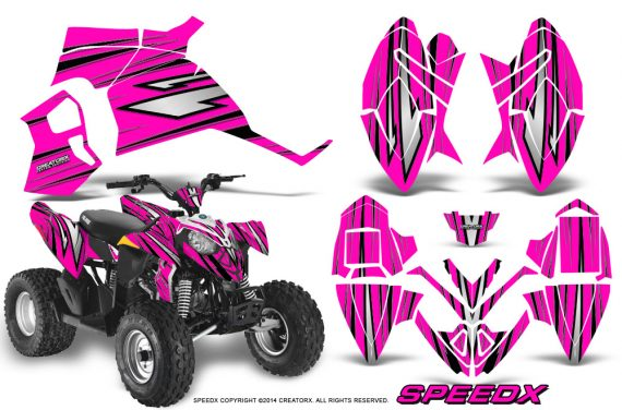 Polaris Outlaw 90 Graphics Kit SpeedX Black Pink 570x376 - Polaris Outlaw 90/110 2002-2016 Graphics