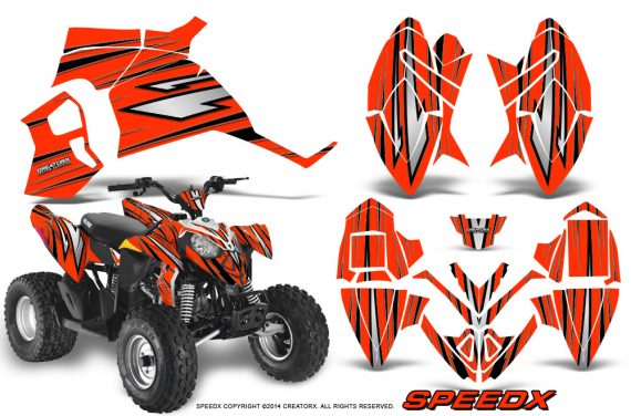 Polaris Outlaw 90 Graphics Kit SpeedX Black Red 570x376 - Polaris Outlaw 90/110 2002-2016 Graphics