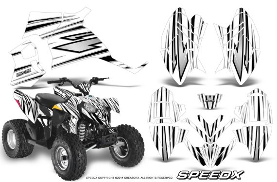 Polaris Outlaw 90 Graphics Kit SpeedX Black White 570x376 - Polaris Outlaw 90/110 2002-2016 Graphics