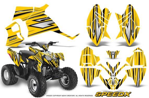 Polaris Outlaw 90 Graphics Kit SpeedX Black Yellow 570x376 - Polaris Outlaw 90/110 2002-2016 Graphics