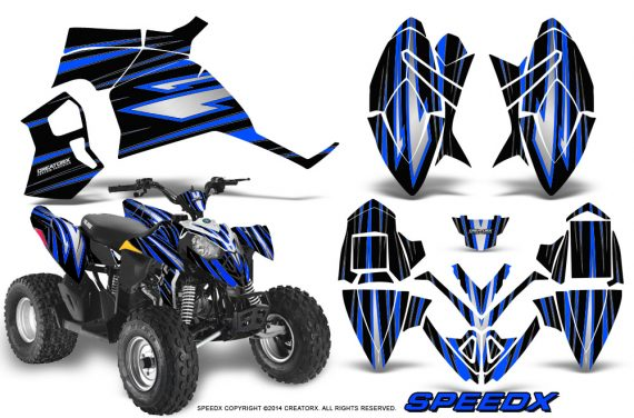 Polaris Outlaw 90 Graphics Kit SpeedX Blue Black 570x376 - Polaris Outlaw 90/110 2002-2016 Graphics