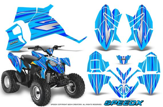 Polaris Outlaw 90 Graphics Kit SpeedX Blue BlueIce 570x376 - Polaris Outlaw 90/110 2002-2016 Graphics